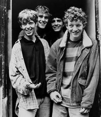 "The La's in 1990. Left to right: Lee Mavers, Peter ""Cammy"" Cammell, Neil Mavers and John Power<br/>Source: Promotional image of The La's released circa. 1990. Copyright belongs to Go! Discs or the photographer Clare Muller.<br/>Fot. Wikipedia"